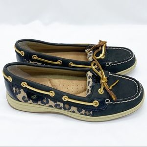 SOLD Sperry Top Sider Black Leopard Print Shoes